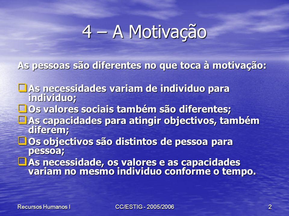 4 – A Motivação As pessoas são diferentes no que toca à motivação: