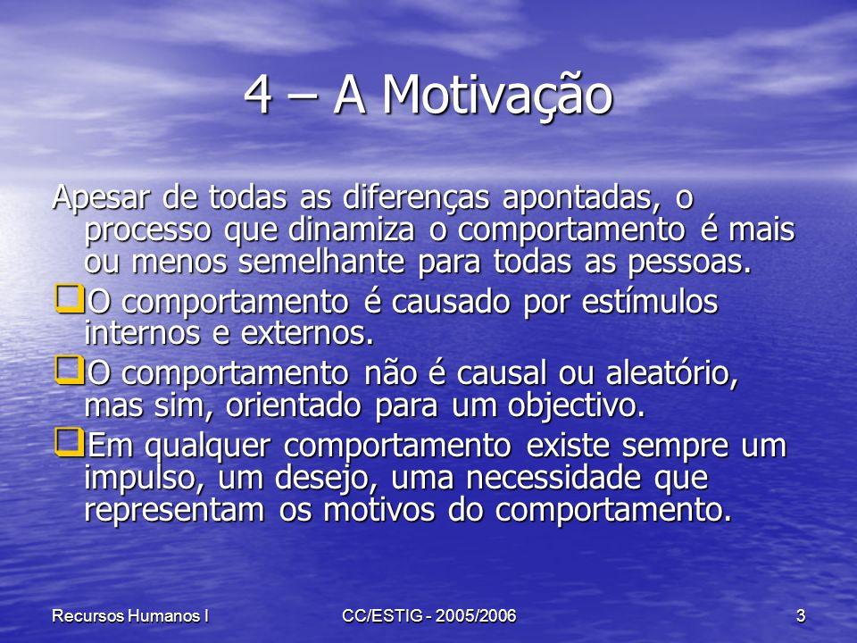 4 – A Motivação Apesar de todas as diferenças apontadas, o processo que dinamiza o comportamento é mais ou menos semelhante para todas as pessoas.