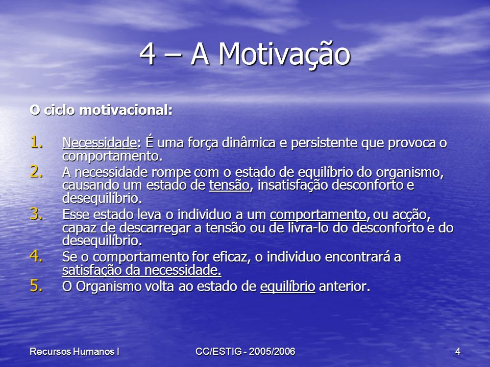 4 – A Motivação O ciclo motivacional: