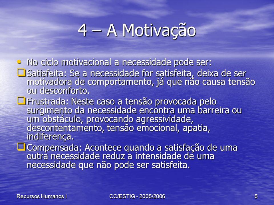 4 – A Motivação No ciclo motivacional a necessidade pode ser: