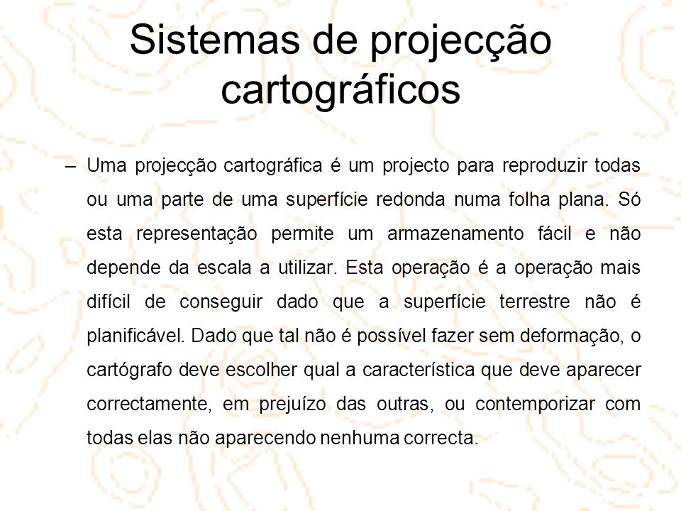Sistemas de projecção cartográficos