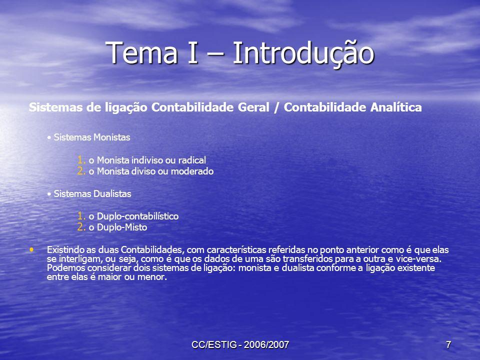 Tema I – Introdução Sistemas de ligação Contabilidade Geral / Contabilidade Analítica. • Sistemas Monistas.