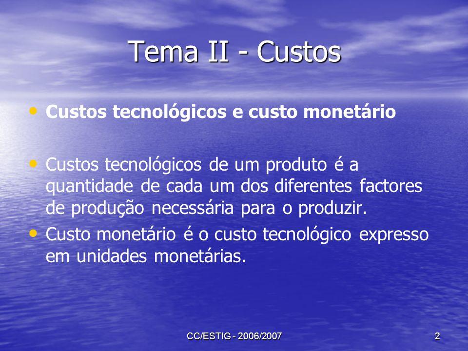 Tema II - Custos Custos tecnológicos e custo monetário