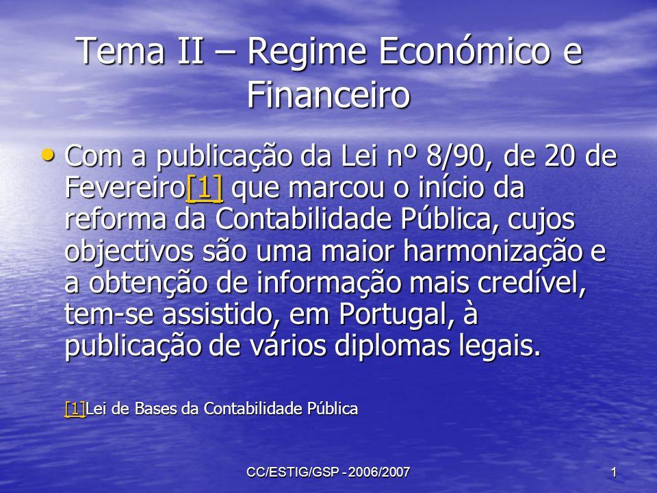 Tema II – Regime Económico e Financeiro