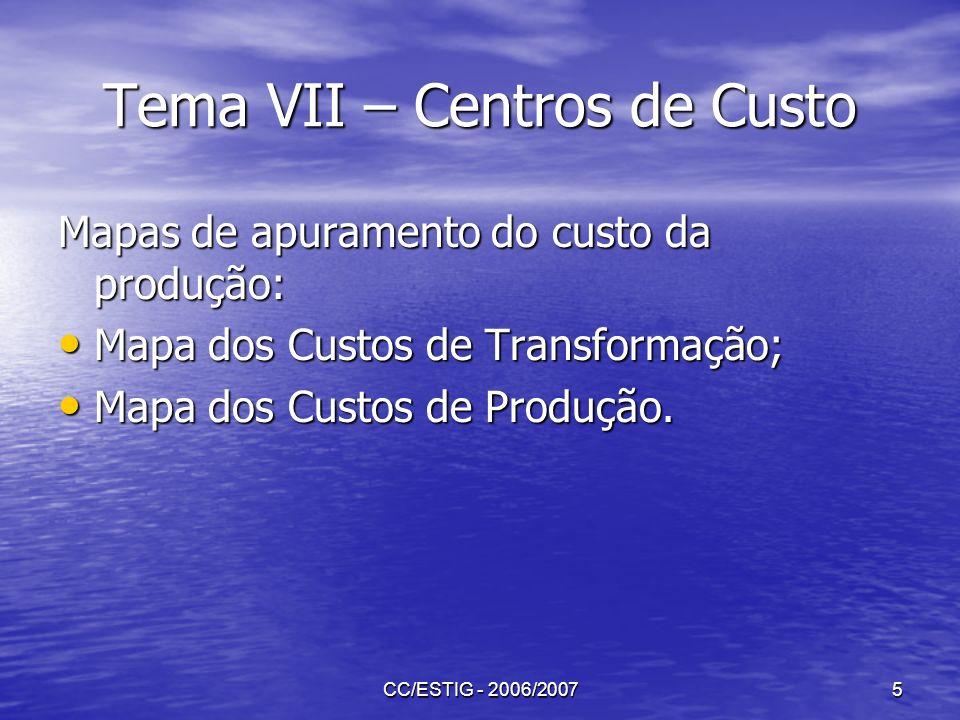 Tema VII – Centros de Custo