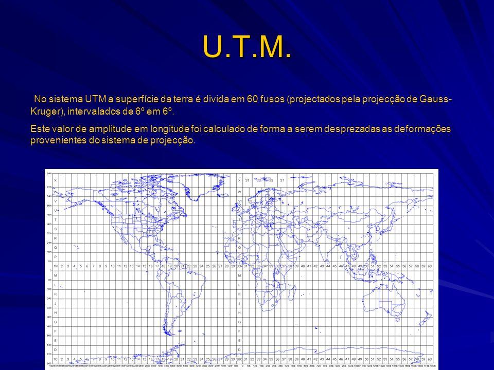 U.T.M. No sistema UTM a superfície da terra é divida em 60 fusos (projectados pela projecção de Gauss-Kruger), intervalados de 6º em 6º.