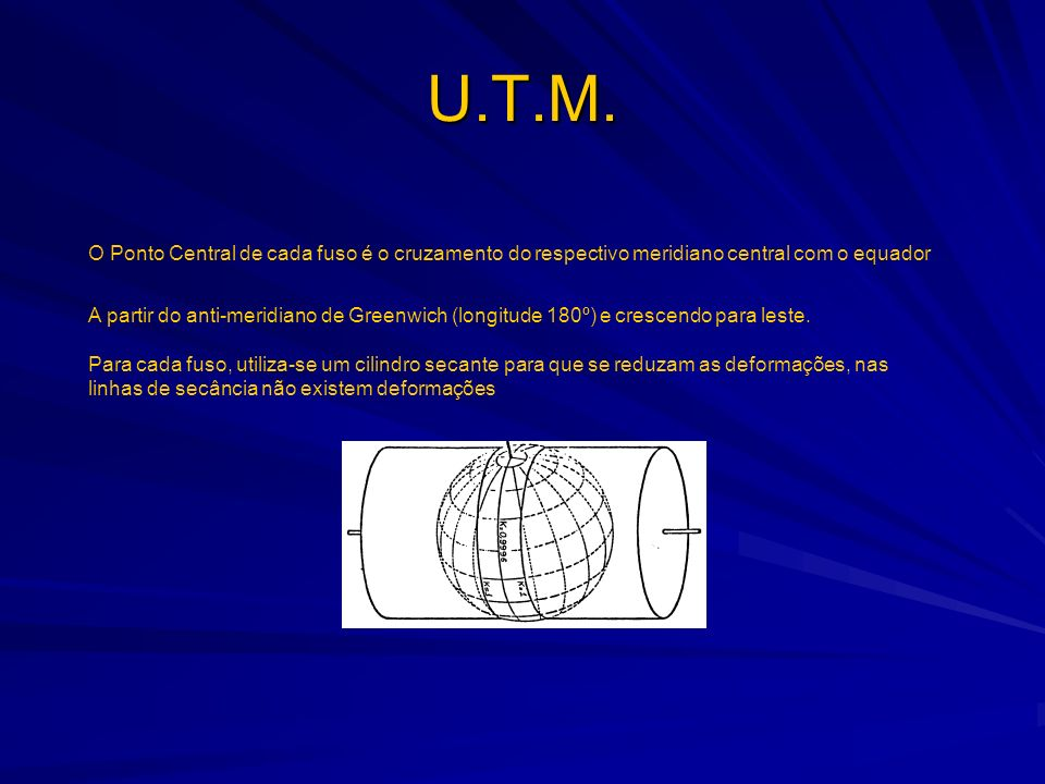 U.T.M. O Ponto Central de cada fuso é o cruzamento do respectivo meridiano central com o equador.