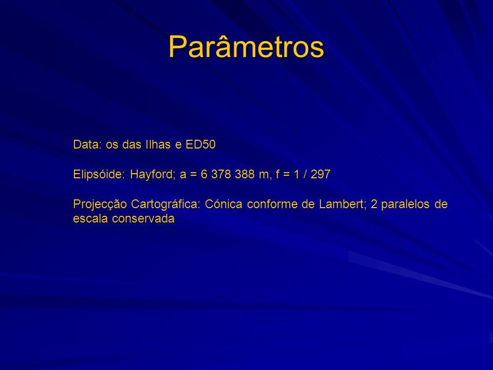 Parâmetros Data: os das Ilhas e ED50