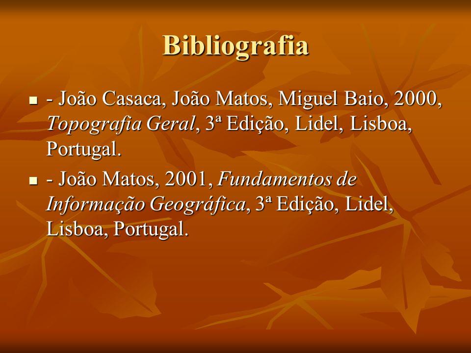 Bibliografia - João Casaca, João Matos, Miguel Baio, 2000, Topografia Geral, 3ª Edição, Lidel, Lisboa, Portugal.