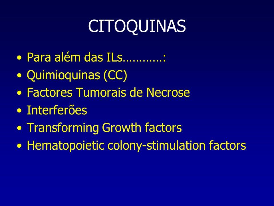CITOQUINAS Para além das ILs…………: Quimioquinas (CC)