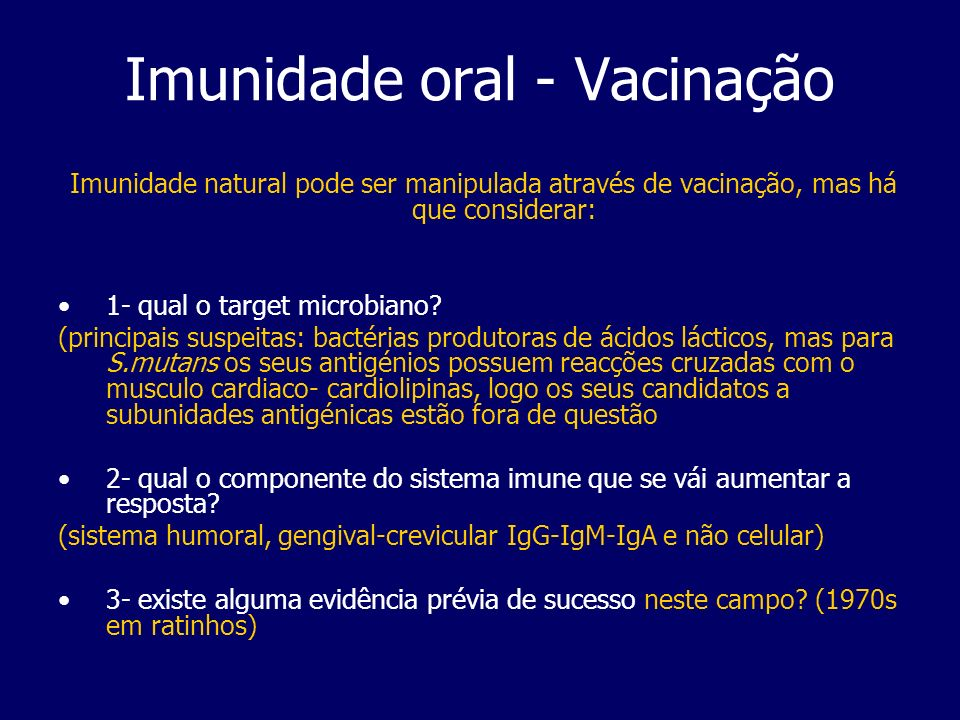 Imunidade oral - Vacinação