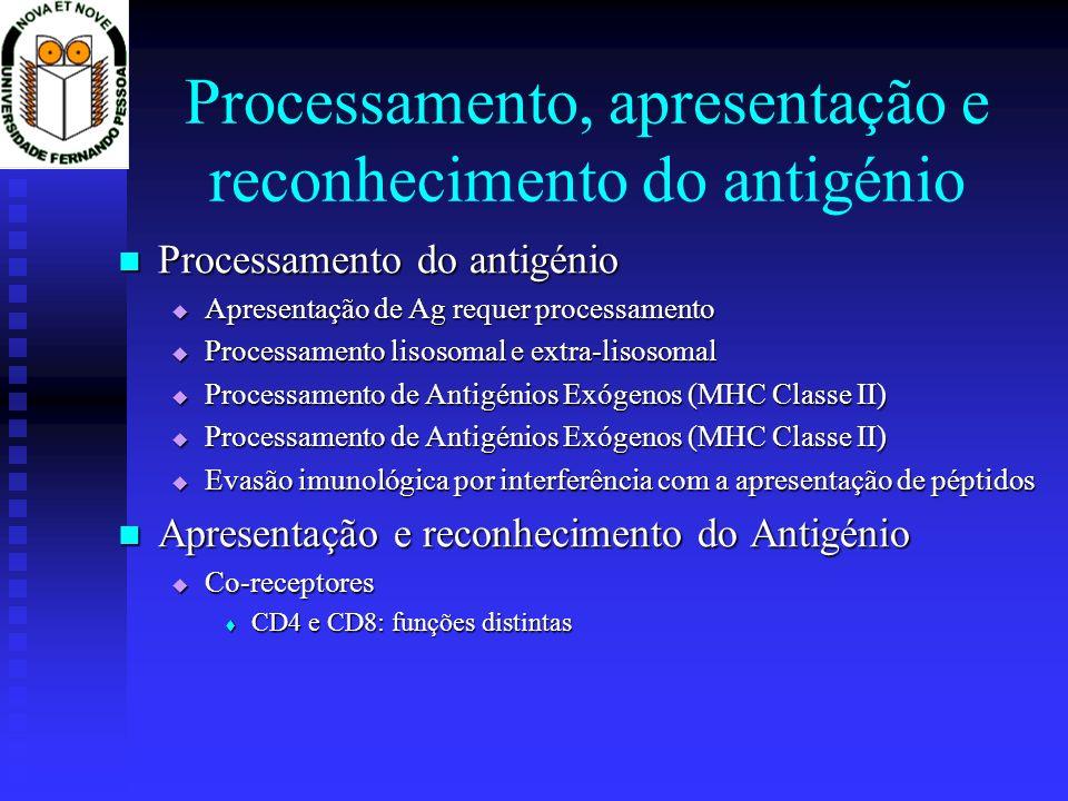 Processamento, apresentação e reconhecimento do antigénio