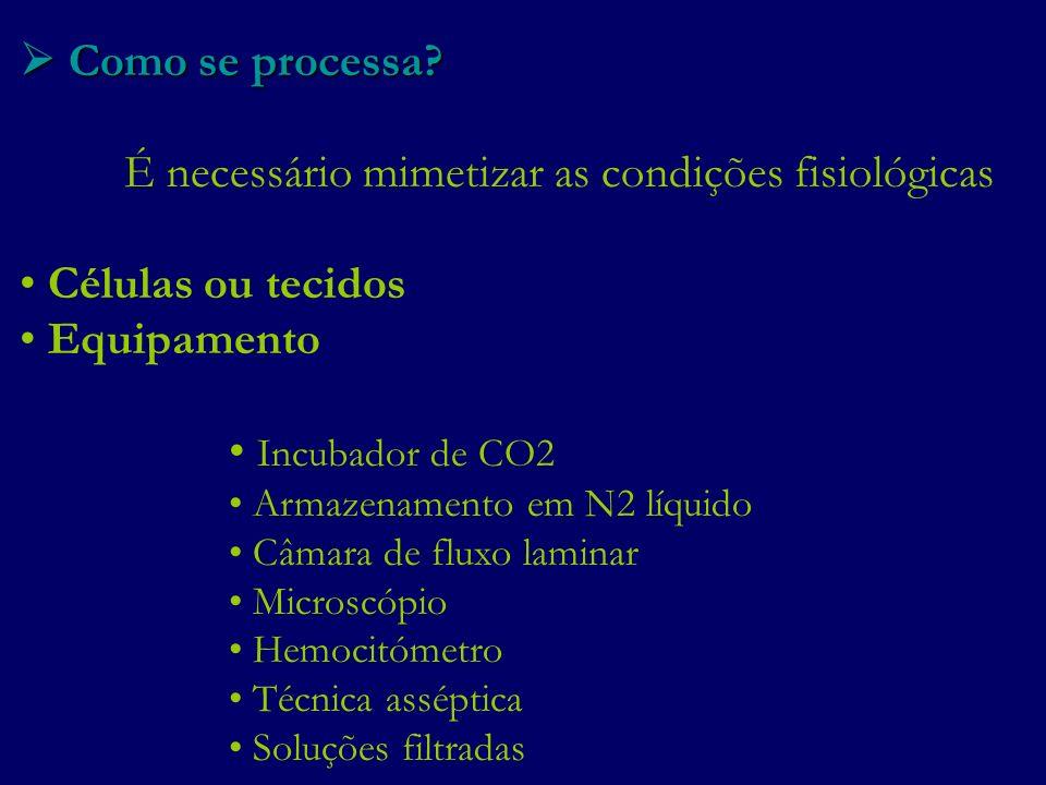 É necessário mimetizar as condições fisiológicas Células ou tecidos