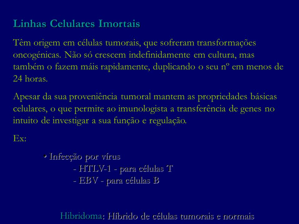 Hibridoma: Híbrido de células tumorais e normais