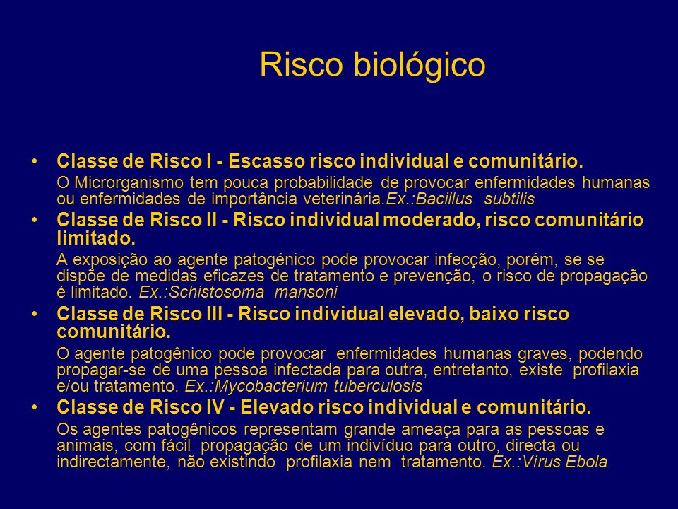 Risco biológico Classe de Risco I - Escasso risco individual e comunitário.