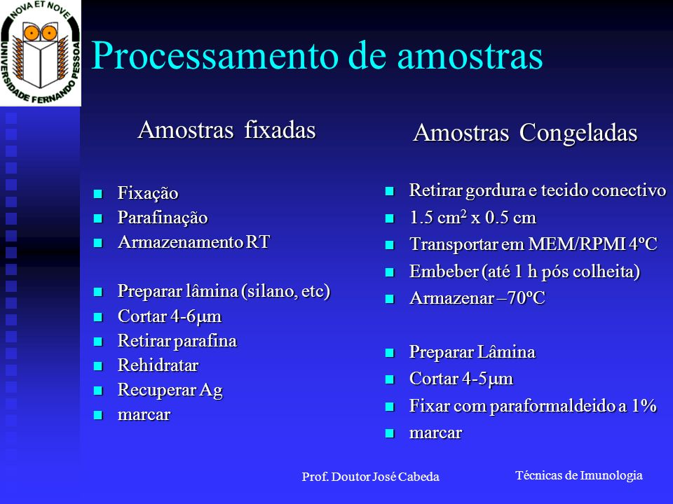 Processamento de amostras