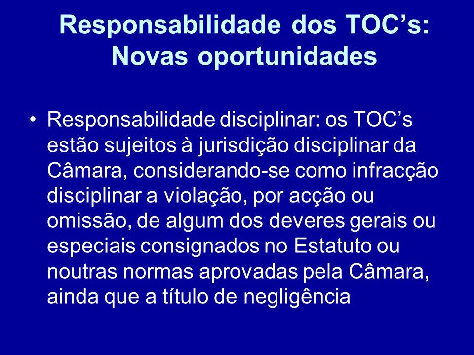 Responsabilidade dos TOC's: Novas oportunidades
