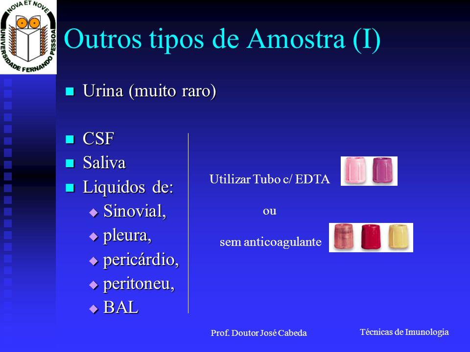Outros tipos de Amostra (I)