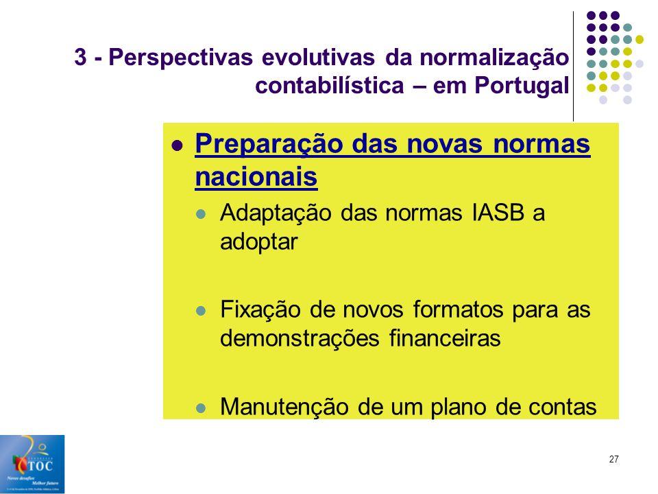 Preparação das novas normas nacionais