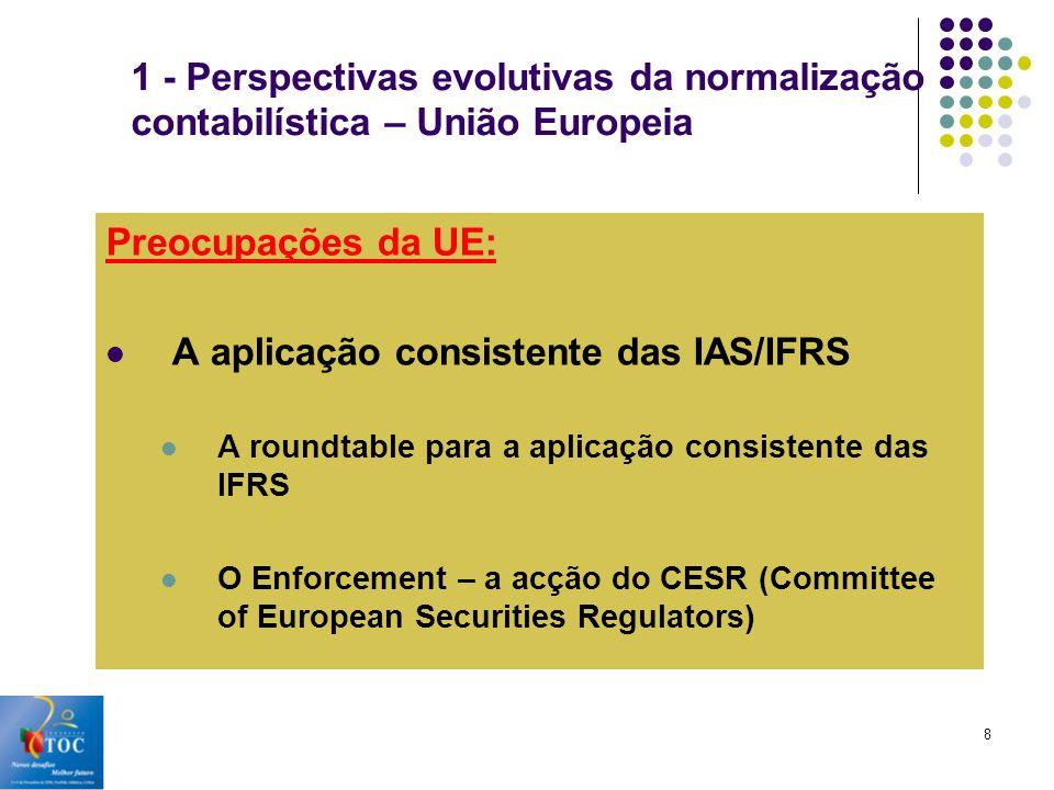 A aplicação consistente das IAS/IFRS