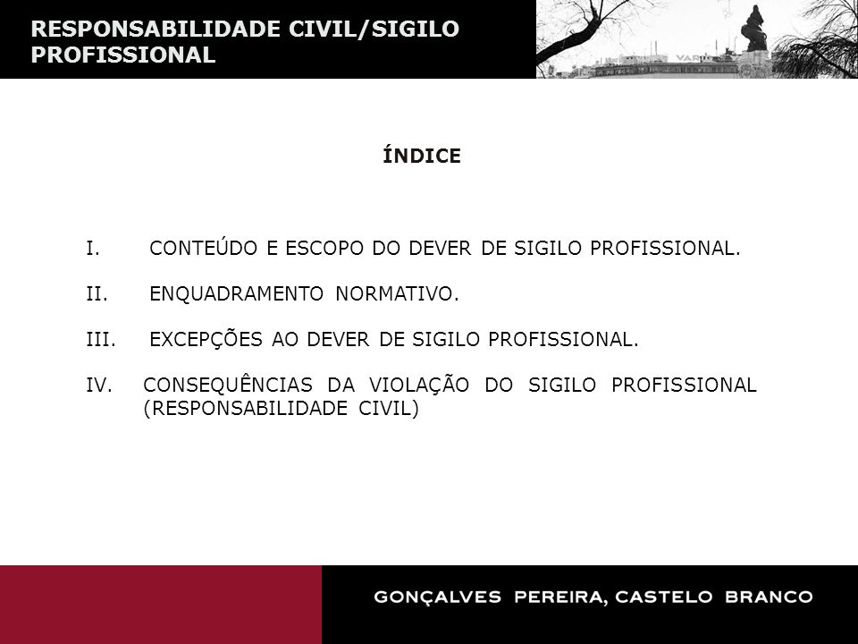 RESPONSABILIDADE CIVIL/SIGILO PROFISSIONAL