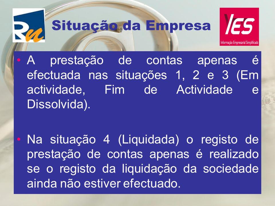 Situação da Empresa A prestação de contas apenas é efectuada nas situações 1, 2 e 3 (Em actividade, Fim de Actividade e Dissolvida).