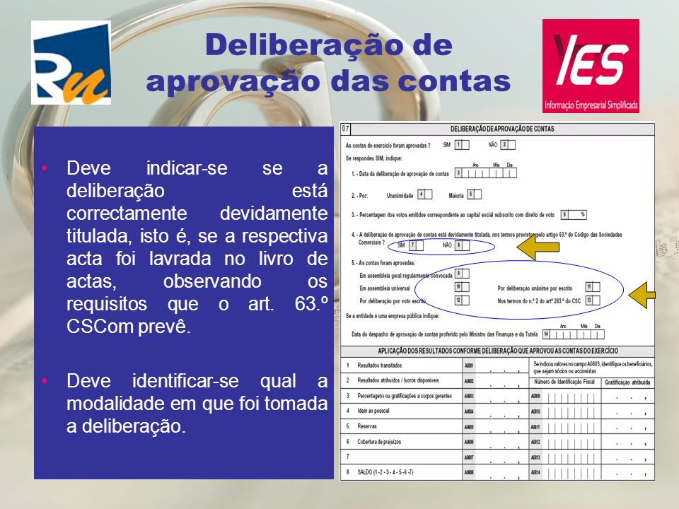 Deliberação de aprovação das contas