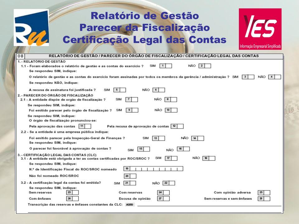 Relatório de Gestão Parecer da Fiscalização Certificação Legal das Contas