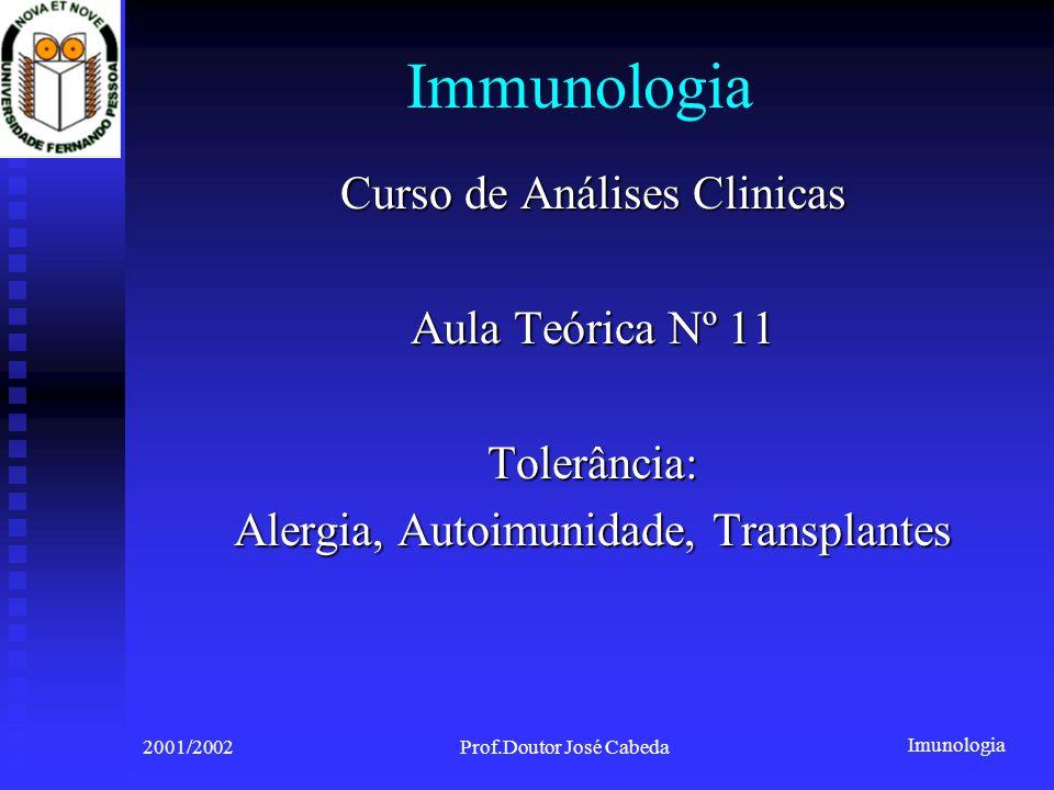Immunologia Curso de Análises Clinicas Aula Teórica Nº 11 Tolerância: