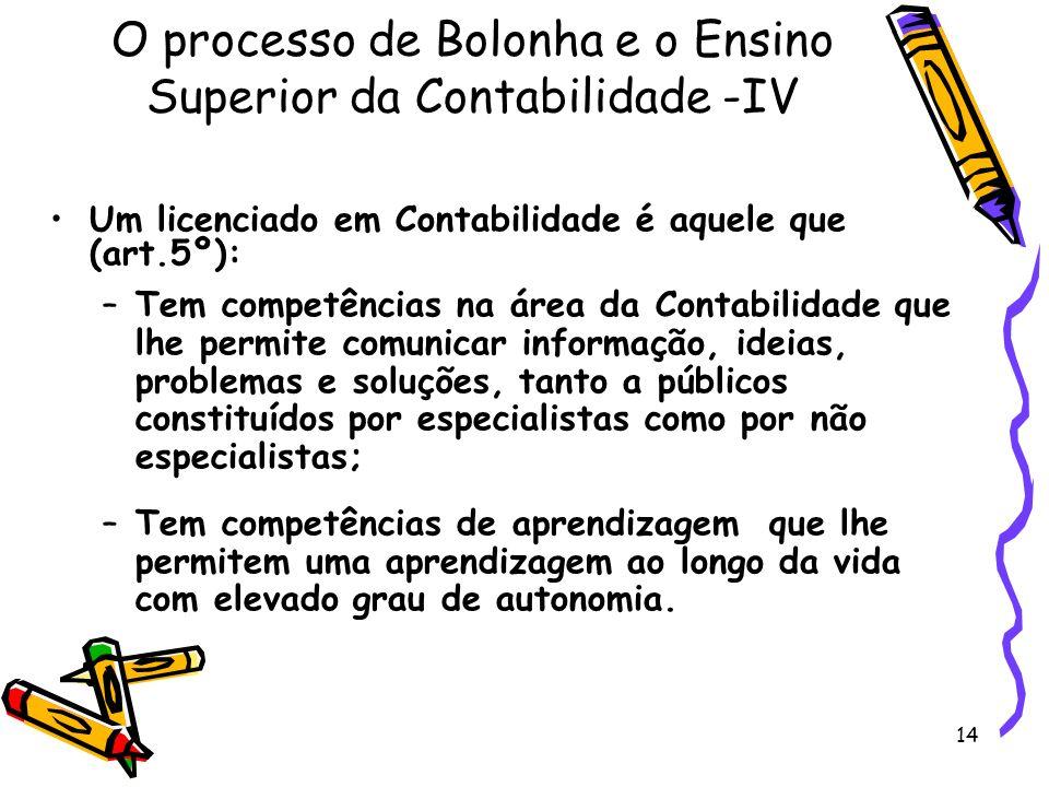 O processo de Bolonha e o Ensino Superior da Contabilidade -IV