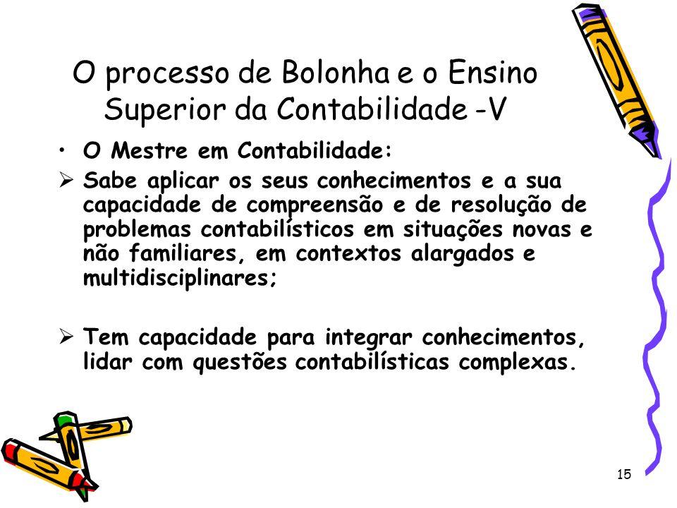 O processo de Bolonha e o Ensino Superior da Contabilidade -V