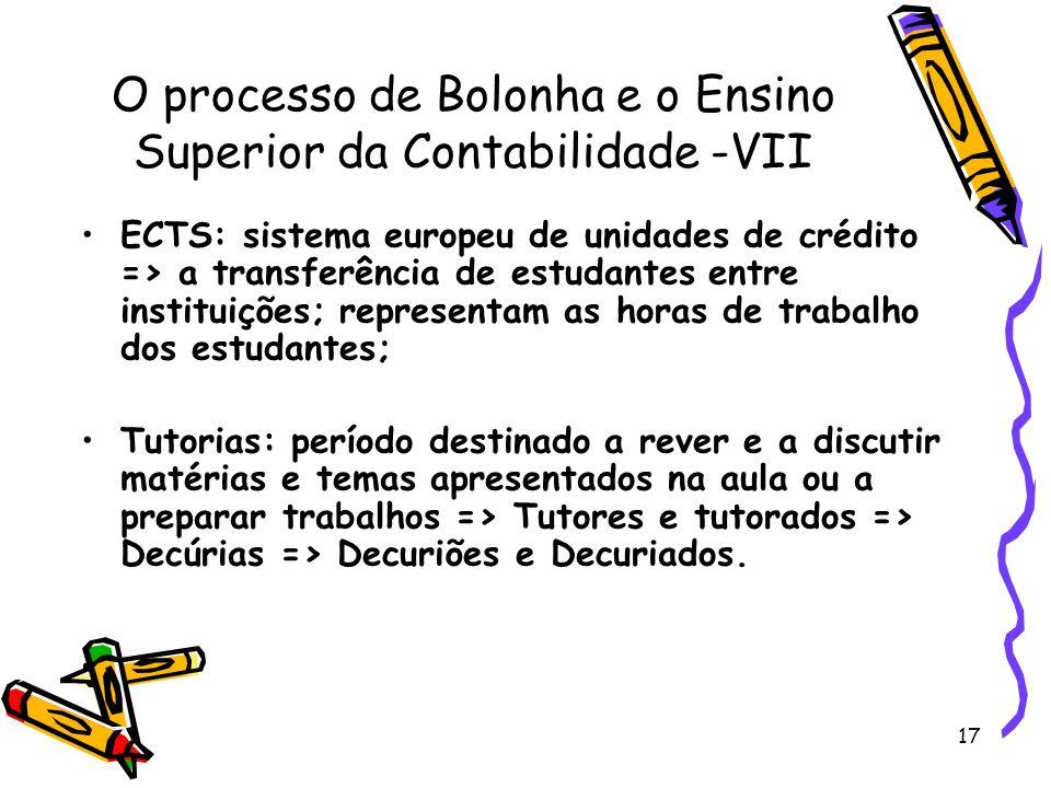 O processo de Bolonha e o Ensino Superior da Contabilidade -VII