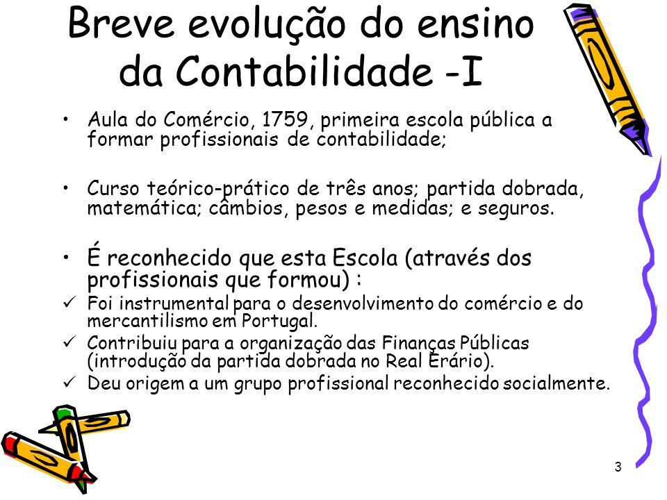 Breve evolução do ensino da Contabilidade -I