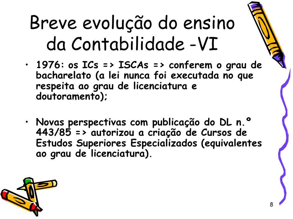 Breve evolução do ensino da Contabilidade -VI
