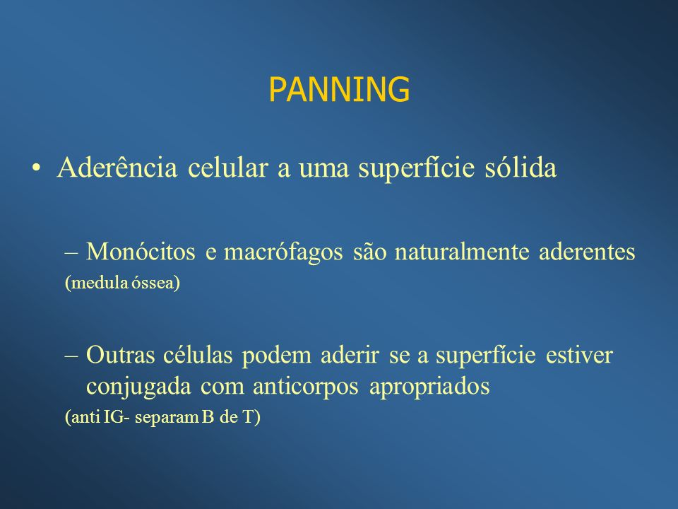 PANNING Aderência celular a uma superfície sólida