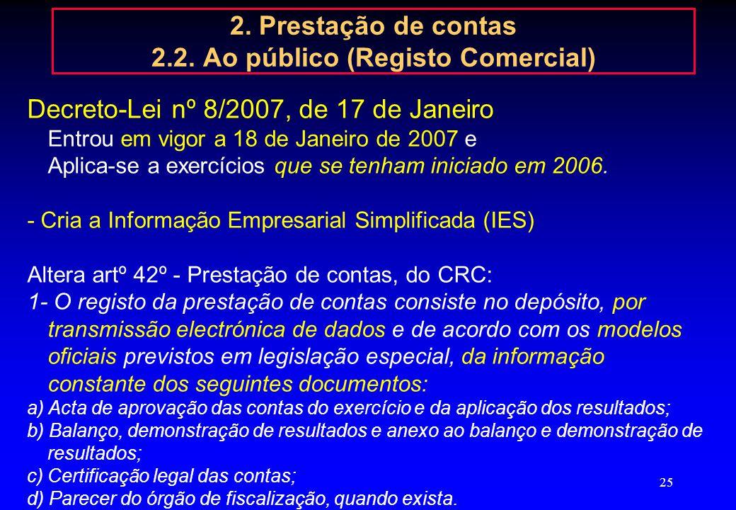 2. Prestação de contas 2.2. Ao público (Registo Comercial)