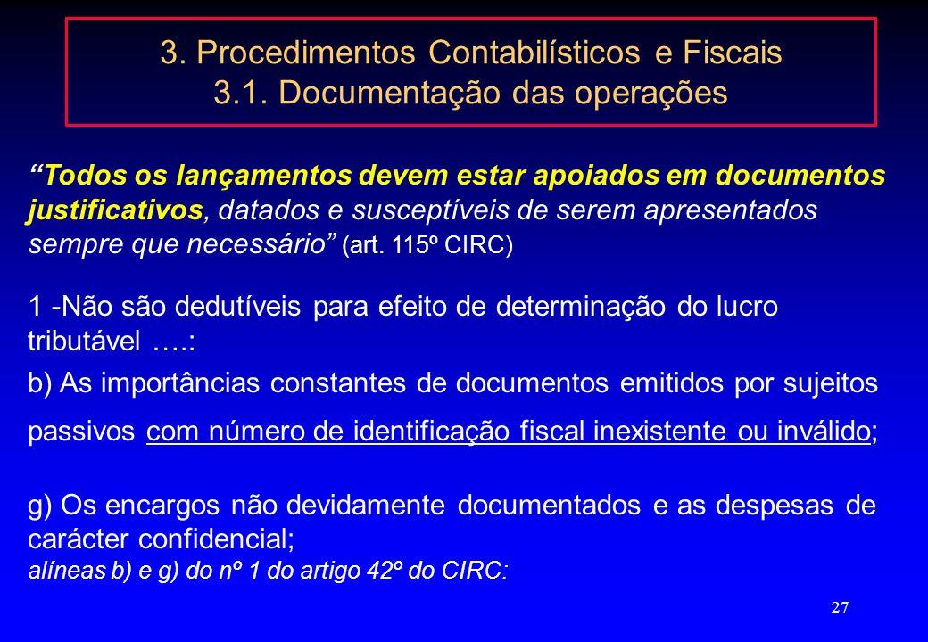 3. Procedimentos Contabilísticos e Fiscais 3. 1