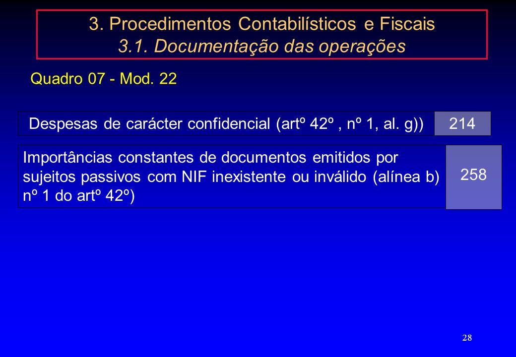 Despesas de carácter confidencial (artº 42º , nº 1, al. g))