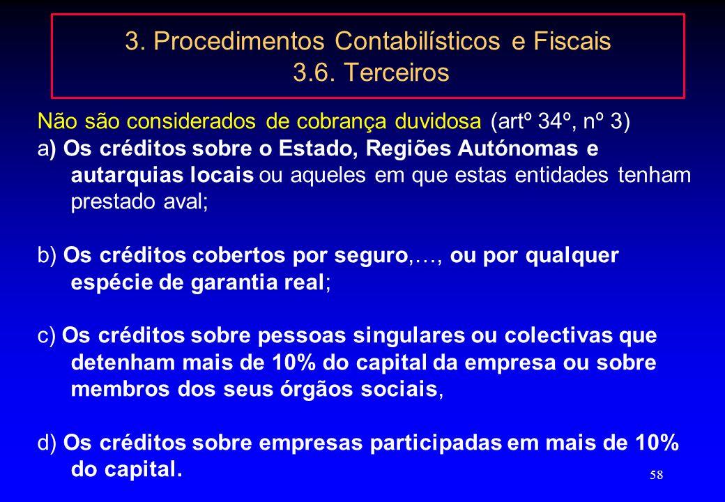 3. Procedimentos Contabilísticos e Fiscais 3.6. Terceiros