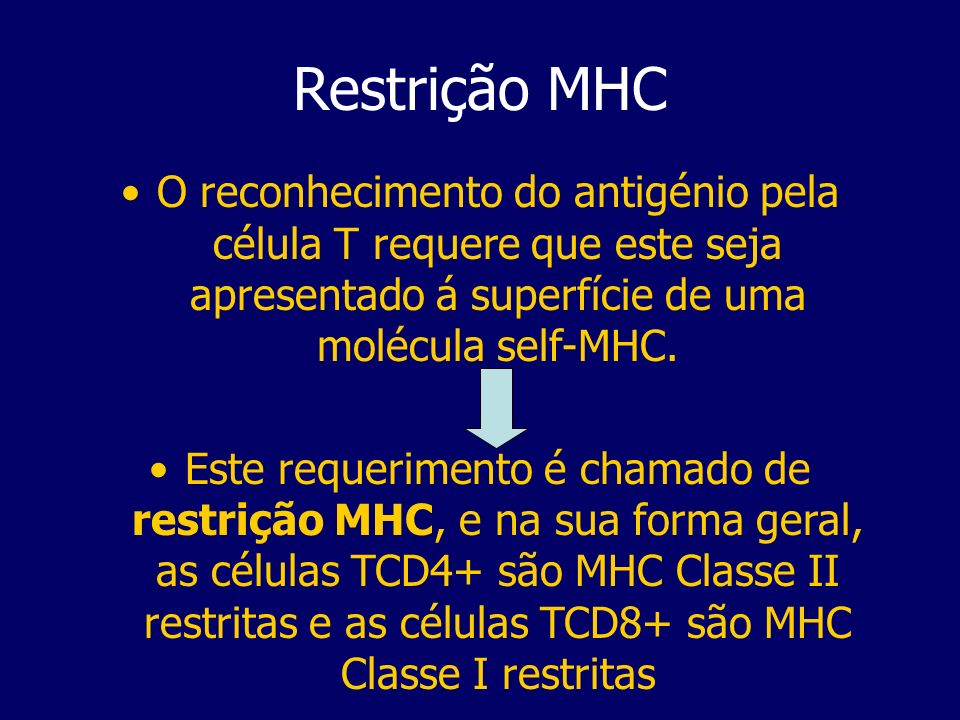 Restrição MHC O reconhecimento do antigénio pela célula T requere que este seja apresentado á superfície de uma molécula self-MHC.