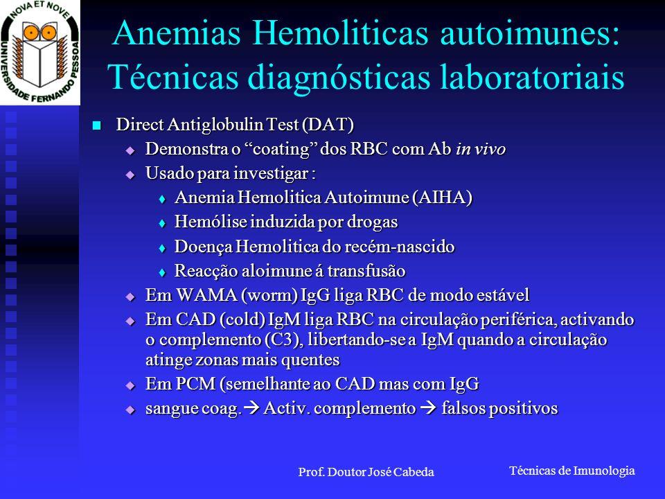 Anemias Hemoliticas autoimunes: Técnicas diagnósticas laboratoriais