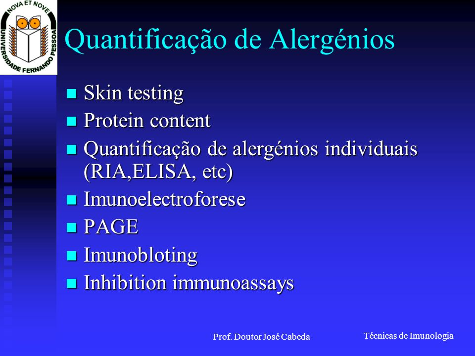 Quantificação de Alergénios