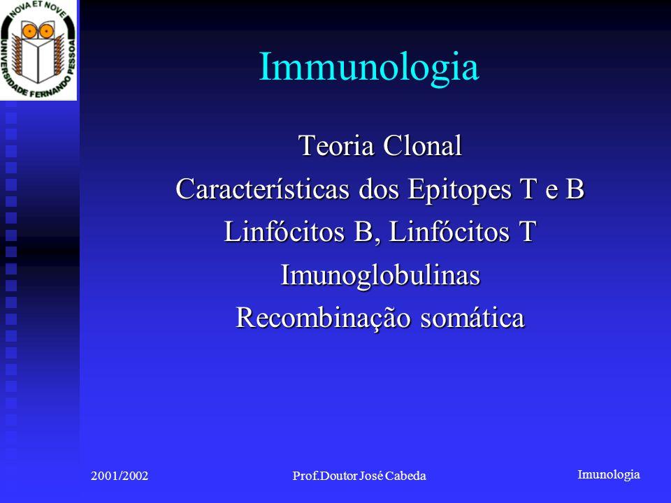 Immunologia Teoria Clonal Características dos Epitopes T e B