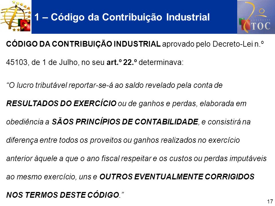 1 – Código da Contribuição Industrial