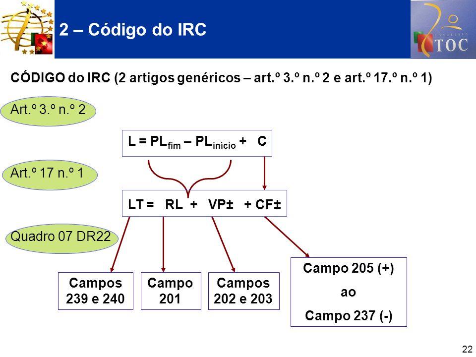 2 – Código do IRC CÓDIGO do IRC (2 artigos genéricos – art.º 3.º n.º 2 e art.º 17.º n.º 1) Art.º 3.º n.º 2.