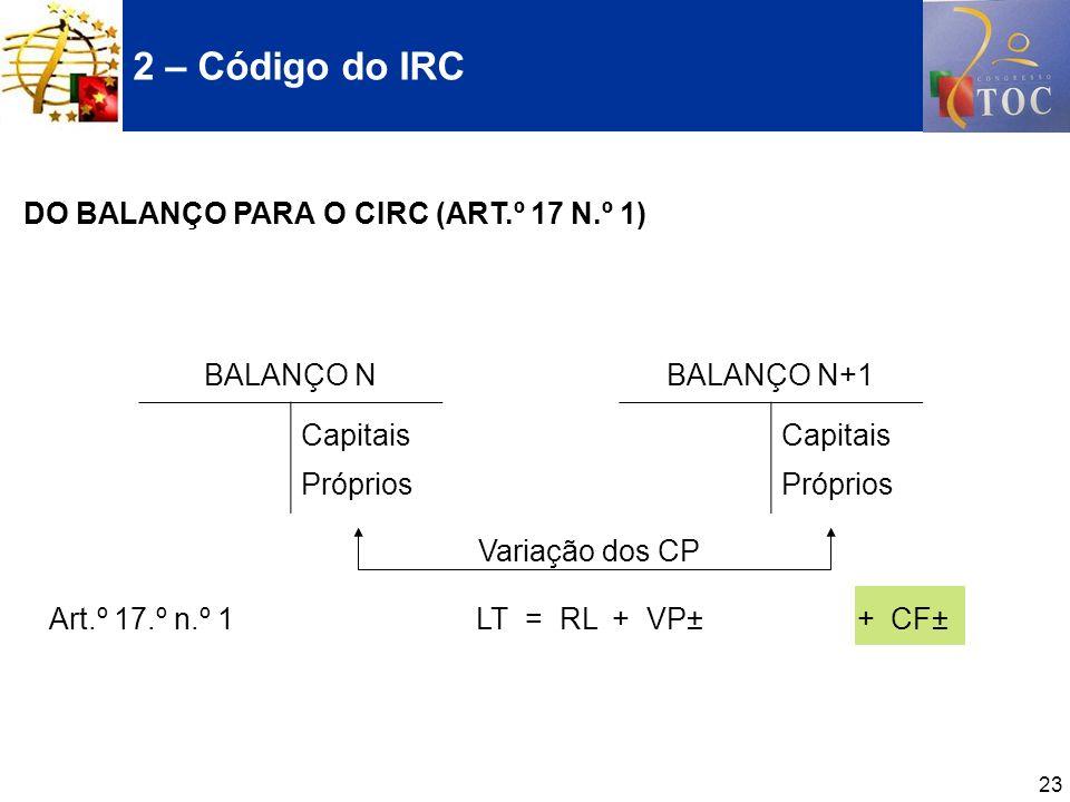 2 – Código do IRC DO BALANÇO PARA O CIRC (ART.º 17 N.º 1) BALANÇO N