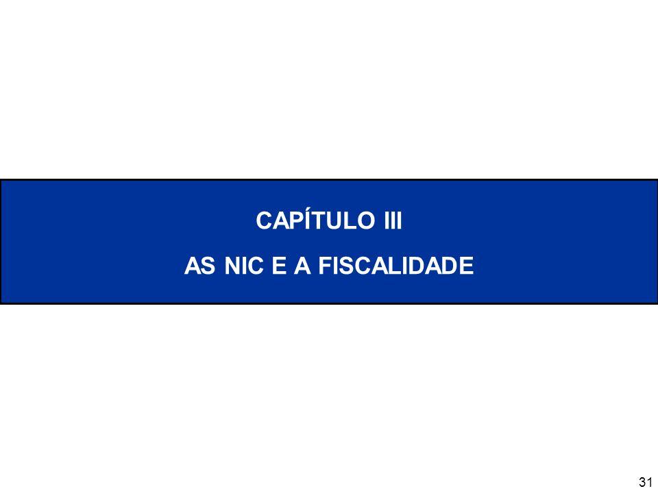 CAPÍTULO III AS NIC E A FISCALIDADE
