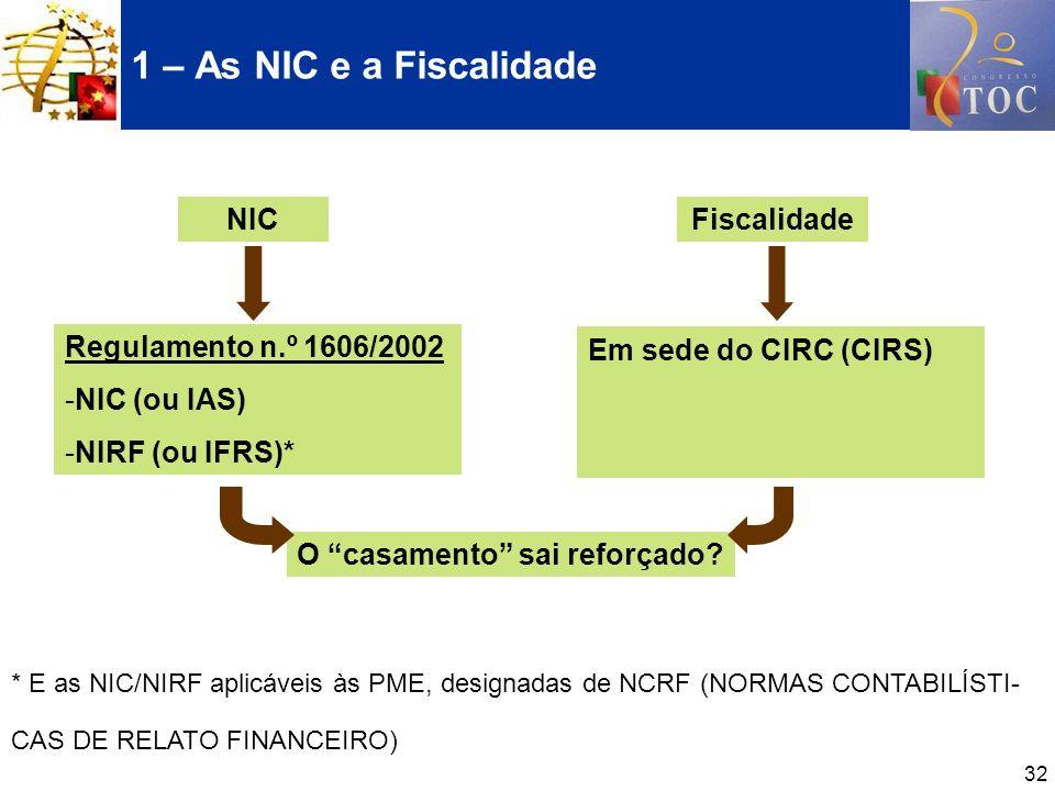 1 – As NIC e a Fiscalidade NIC Fiscalidade Regulamento n.º 1606/2002