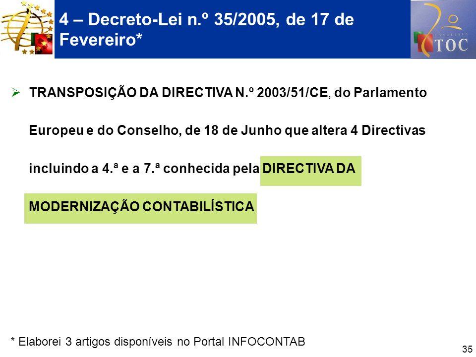 4 – Decreto-Lei n.º 35/2005, de 17 de Fevereiro*