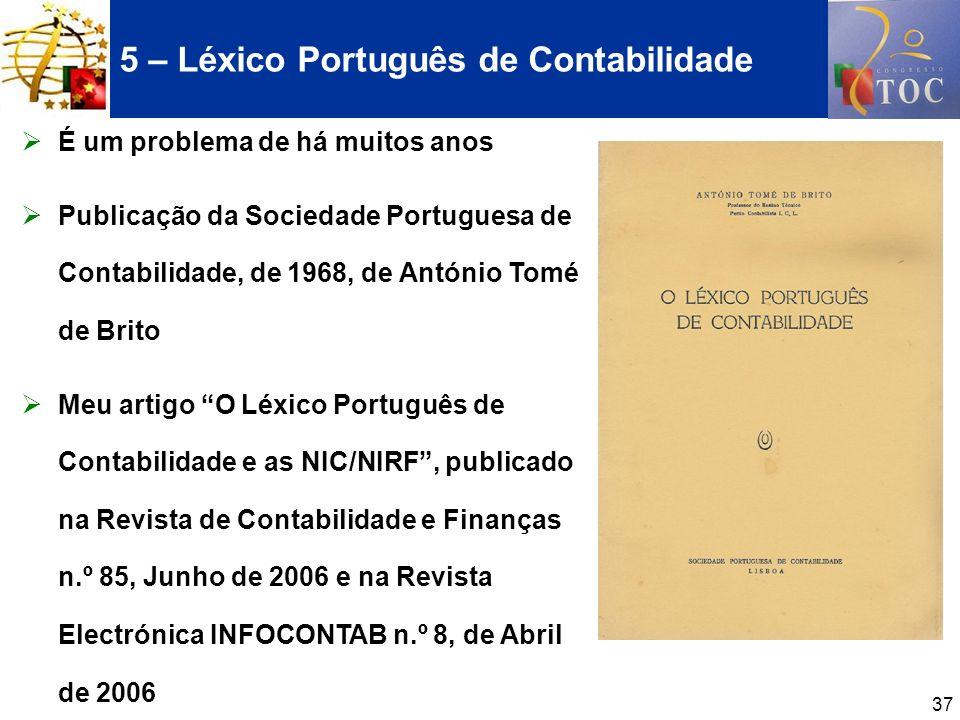 5 – Léxico Português de Contabilidade